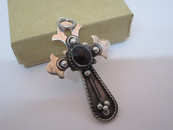 MEDIEVAL SILVER CROSS~ Pendant necklace~ 925 Silver~ Charm~ Vintage Jewelry~ Red Garnet Stone~ Celtic~ Gothic~ Gift