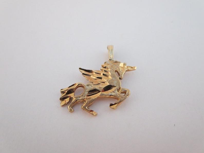 Diamond Cut UNICORN PENDANT NECKLACE Celtic Yellow gold Charm pendant Gift Vintage Unicorn Charm bracelet 10K Gold