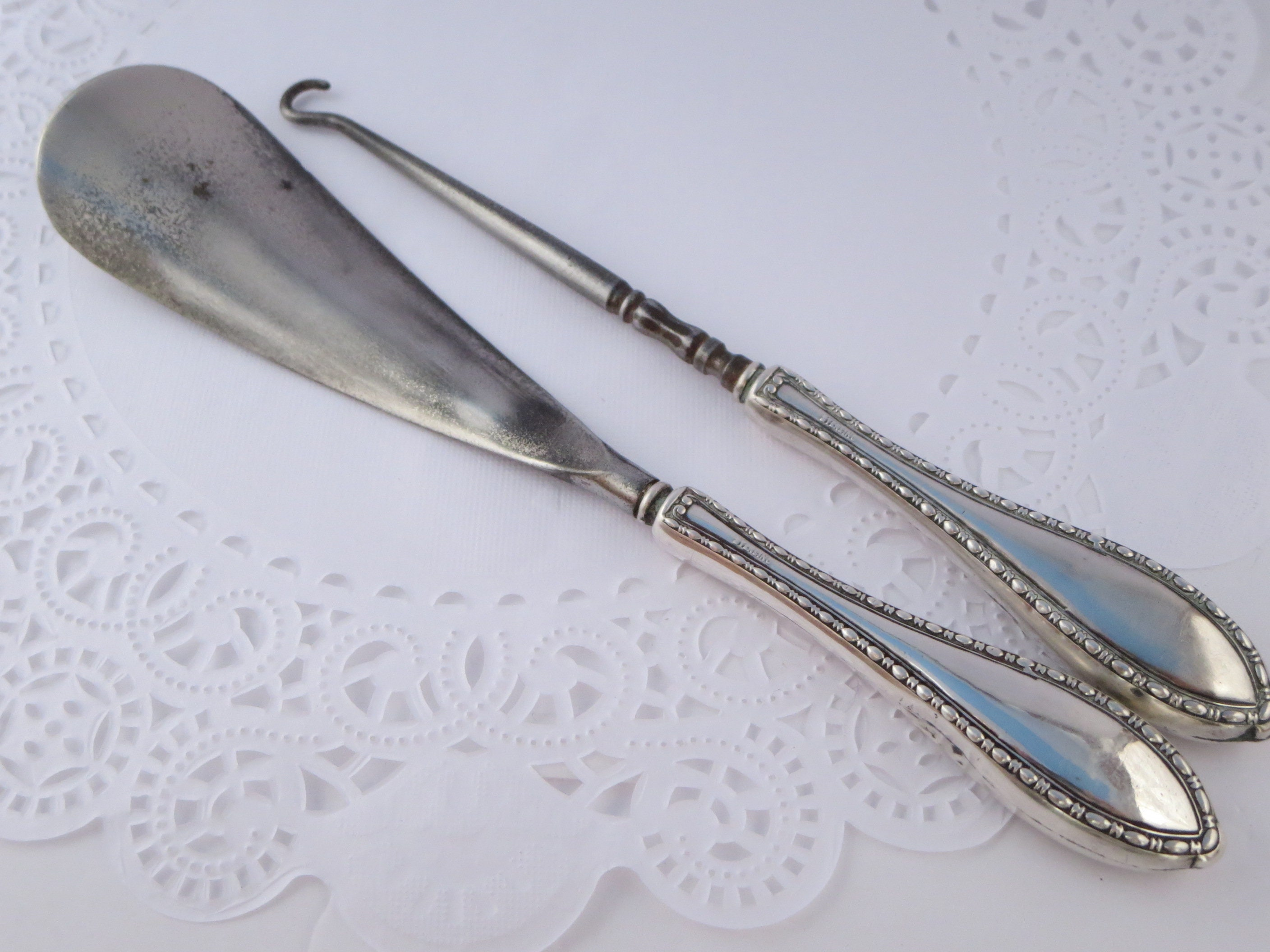 SHOEHORN  botas botas botas  lace hook Zapatos accessory Silver Sterling handles Vanity accesssory Zapatos accessory Antique Victorian Christmas gift b8ebfa