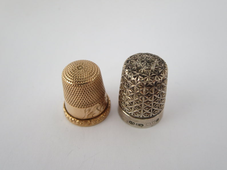 SEWING THIMBLES~ Vintage thimble set~ Silver Sterling~ Collectible~ Sewing accessories~ Needle pin finger~ Miniature decor~ Gift