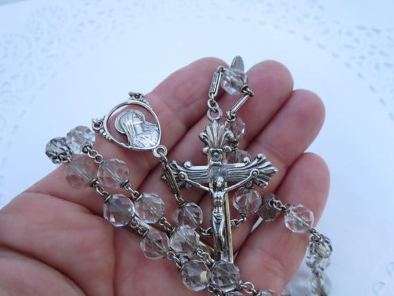 Sterling Silver Baby Rosaire Perle Collier VIERGE MARIE croix religieux d/'Italie