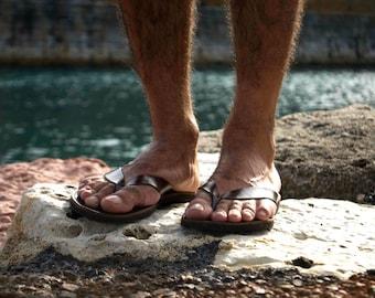 af06e1f28118 Mens Leather Flip Flops