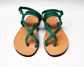 e206b00c51931a Strap Sandals in Green Color made with 100% Genuine Leather
