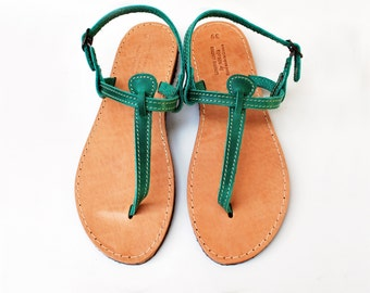 52cf8d7fddda3 T Strap Green Leather Sandals