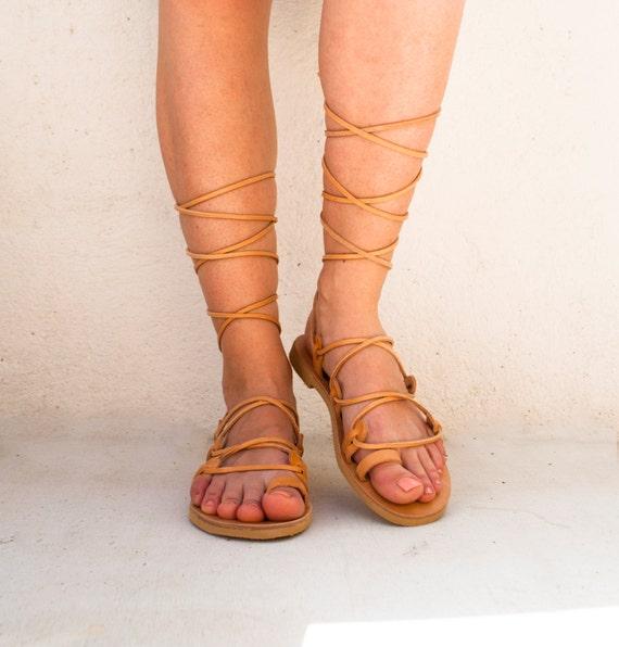 Lace up sandals, Greek handmade gladiator laceups, gladiator sandals, ankle strap sandals