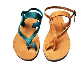 Sandales à lanières Toe-wrapper sandales grecques d'été fait à la main chaussures en cuir