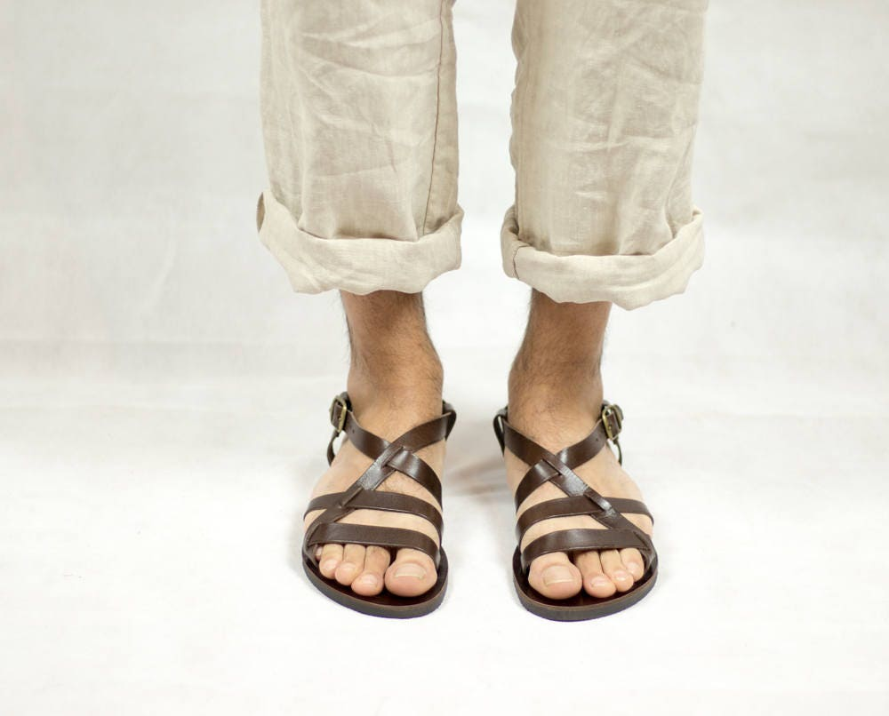 sale retailer 7b885 81b0c Sandals for men, dark brown summer shoes, shoes, shoes, gift for him