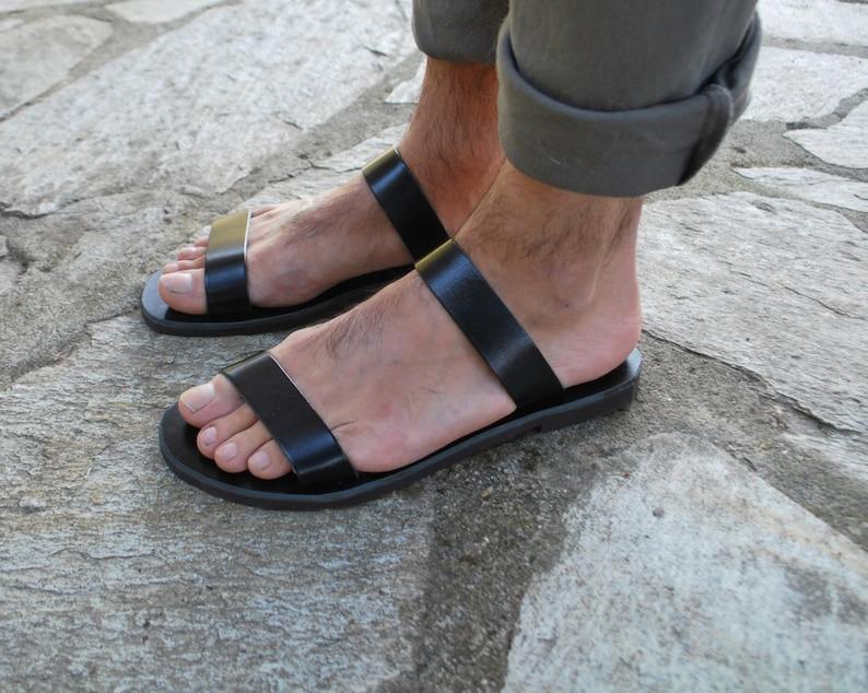 43676b35f Mens Leather Slippers Leather Slides Mens Summer Sandals