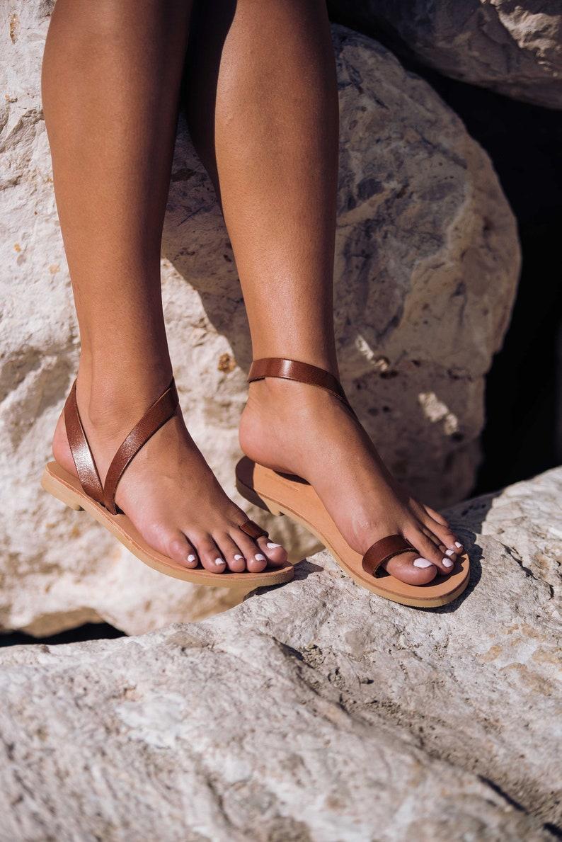 34255af1359c79 Women sandals Greek Leather sandals Toe ring sandals