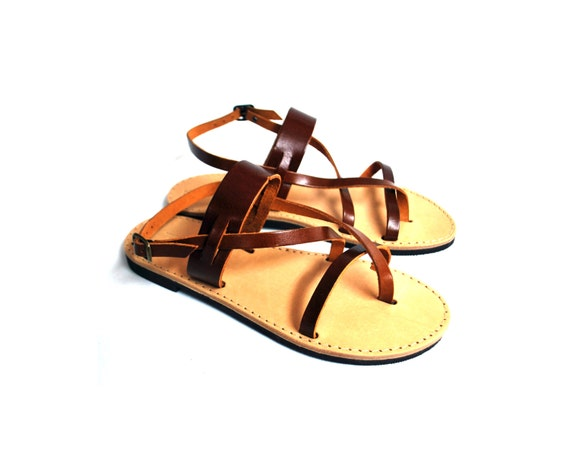 Leather strappy sandals womens hazel brown handmade summer flats