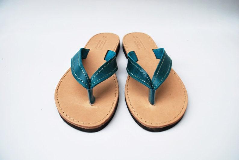 Leather Flip Flops in Blue | Etsy