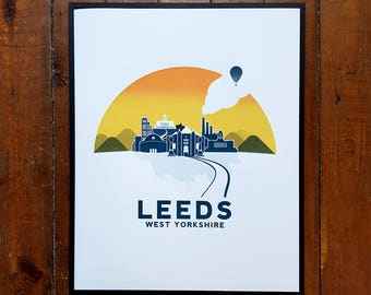 Leeds Print  City Art Yorkshire Screen Print Poster by OR8 DESIGN