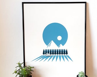 "Campervan Mountain Forest Scandinavian Scandi Screen Print 16""x20"" Art Poster by OR8 DESIGN"