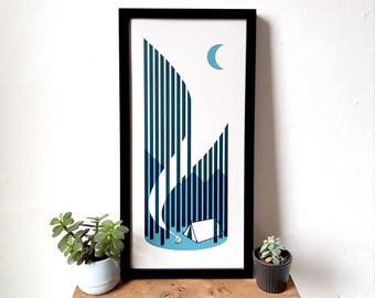 Tent Camping Adventure Screen Print Poster by OR8 DESIGN
