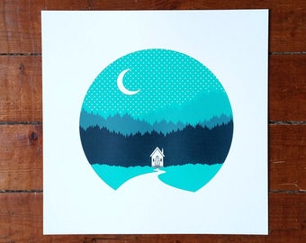 Log Cabin Cottage Screen Print Forest Woods Art Poster by OR8 DESIGN