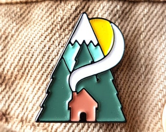 Cabin Enamel Pin Lapel Pin Badge Cottage Mountain Forest Trees Adventure Pin by OR8 DESIGN