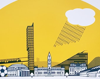 Manchester Screen Print Art Poster City Skyline by OR8 DESIGN