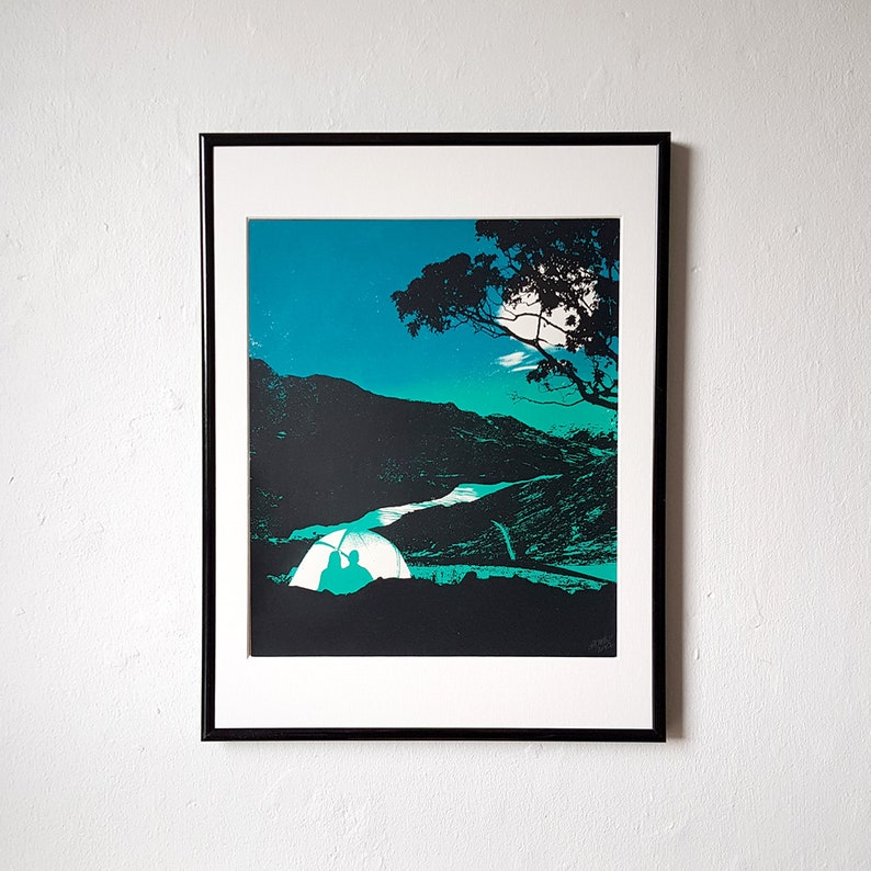 Camping Screen Print The Great Outdoors Dusk image 0