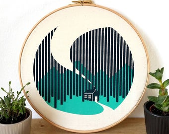 Cabin Cottage Canvas Screen Print Forest Woods Art Poster in embroidery hoop by OR8 DESIGN and Button & Stitch