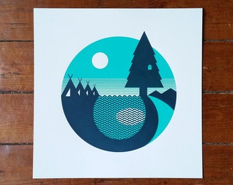 """Outdoors Forest Camping Screen Print 12"""" Art Poster by OR8 DESIGN"""