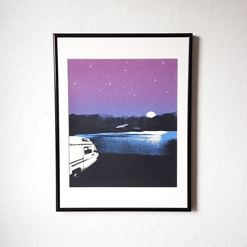Campervan Screen Printed The Great Outdoors Poster image 0