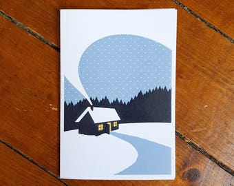 Cottage Cabin Greetings Gift Card Outdoors Adventure Winter Mini Print by OR8 DESIGN