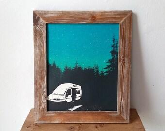 Campervan Motorhome Screen Print Adventure Outdoors Art Poster by Or8 Design