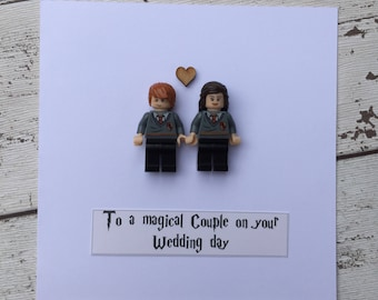 Personalised Unique Harry Potter Inspired Wedding Engagement Anniversary card ft Ron & Hermione mini-figures Quirky Wedding Gift