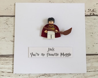 Personalised Unique Harry Potter Inspired Birthday Card with Harry minifigure. 'You're my favourite Muggle' Cool Quirky Card