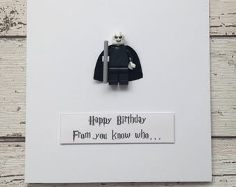 Personalised Harry Potter Inspired Lord Voldemort Birthday Card with minifigure. 'Happy Birthday.From you know who...' Cool Funny Quirky