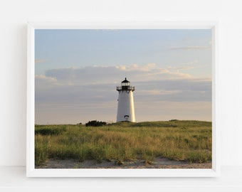 Edgartown Harbor Light Marthas Vineyard Photograph Beach Grass Lighthouse Photography Coastal Style Nautical Decor Cape Cod Islands Photo