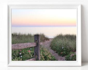 Marthas Vineyard Beach Path Photograph Sandy Pathway Sunrise Photography Print Ocean Photo MVY Wall Decor Coastal Home Design The Vineyard