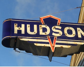 Hudson Sign Photography Industrial Decor Nursery Decor Car Retro Neon Sign Photograph Rustic Mid Century Wall Art Boy Name Sign Photo