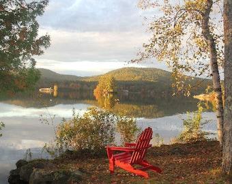 Fall Adirondack Chair Lake Photography Maine Woodland Cabin Wall Art Autumn Foliage Home Decor Nature Photograph Cottage Landscape