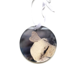 Heart Rock Holiday Ornament Cairn Clear Acrylic Christmas Ornaments Seasonal Decor Love Natural Stacked Stones Hearts in Nature Trail Marker
