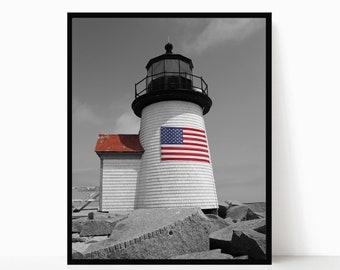 Nantucket Lighthouse American Flag Photography Cape Cod Art Nautical Decor Coastal Photograph Brant Point Light Summer New England Photo