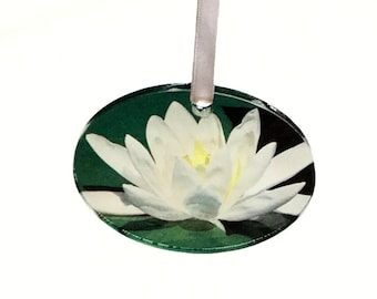 Water Lily Ornament Christmas Decor Acrylic Holiday Ornaments Waterlily Seasonal Lake House Decorations Nature Inspired Lotus Flower