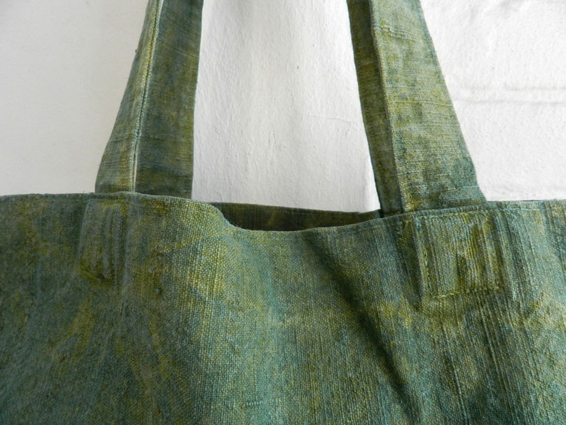 Basil Green Linen Market Bag natural Indigo and Pomegranate extracts hand dyed 34x48x12 cm 13x19x5 inches