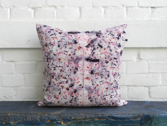 Purple Pink Speckled Pillow Madder Logwood Cochineal Hand Dyed Vintage Linen Cushion 50x50 Cm 20x20 Inches