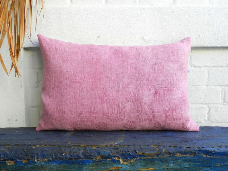 light pink pillow cochineal naturally hand dyed vintage linen | etsy