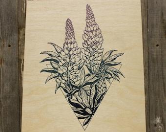 "DENSE FLOWERED LUPINE >>> Navy, Teal, Dusty Purple Silkscreen on Birch Wood 10""x12"" Cradle"