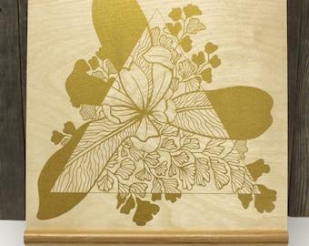 """IRIS & FERN >>> Gold Silkscreen on Birch Wood 10""""x10"""" Cradle"""