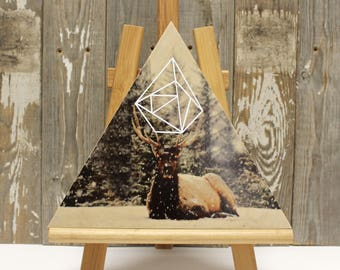"""SNOWY ELK >>> Photo transfer and silkscreen on wood cradle >>> 10"""" Triangle"""