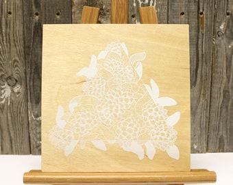 "DWARF WOOLLY HEADS >>> White Silkscreen on Birch Wood 8""x8"" Flat Panel"