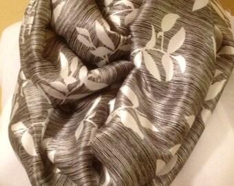 Black with white leaf pattern satiny infinity circle loop eternity scarf
