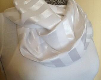 Pure white satin stripe infinity circle loop eternity scarf