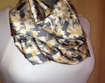 Gray, tan and white Infinity circle loop eternity scarf