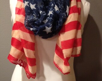 American Flag patriotic Vintage Red White and Blue Stars and Stripes infinity circle loop or eternity scarf