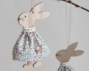 Liberty print wooden rabbit hanging decorations