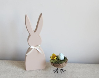 Large wooden free standing rabbit / bunny decorative accessory with pom pom tail
